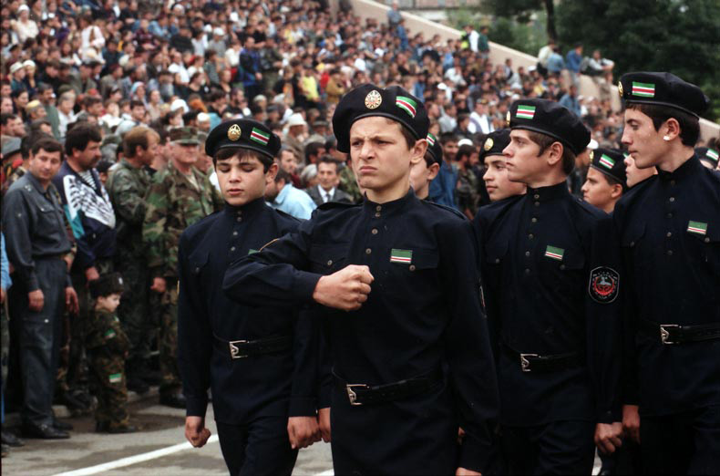 Chechen cadets (but not in Afghanistan): Chechen separatist government National Guard cadets on parade in Grozny, 1999. Photo: Natalia Medvedeva