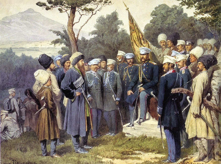 Resistance leader Imam Shamil, an ethnic Avar and hero to many Chechens, surrenders to Russian forces in August 1859, (finding pictures of Chechens in Afghanistan is difficult) painting by Alexei Kivshenko, 1880