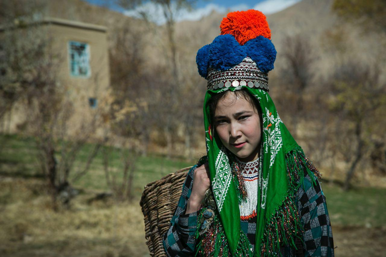 A still from the documentary showing a young girl wearing the traditional hat called kola-ye topak-dar in Daikundi province. Photo: Nasim Seyamak