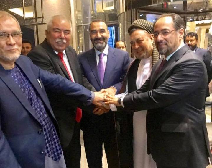 "From the right Salahuddin Rabbani (acting Chairman of Jamiat and Foreign Minister), Muhammad Mohaqeq (leader of Hezb-e Wahdat Mardom and Deputy Chief Executive), Atta Muhammad Nur (Balkh Governor and Chief Executive of Jamiat), General Abdul Rashid Dostum (first Vice-President and leader of Jombesh-e Milli) and Muhammad Nateqi (Deputy of Wahdat-e Mardom) formed a political coalition on 30 June 2017 called the ""Etelaf baray Nejat-e Afghanistan (Coalition for the Salvation of Afghanistan),"" in Ankara, Turkey. Photo: Atta Muhammad Nur's Facebook"