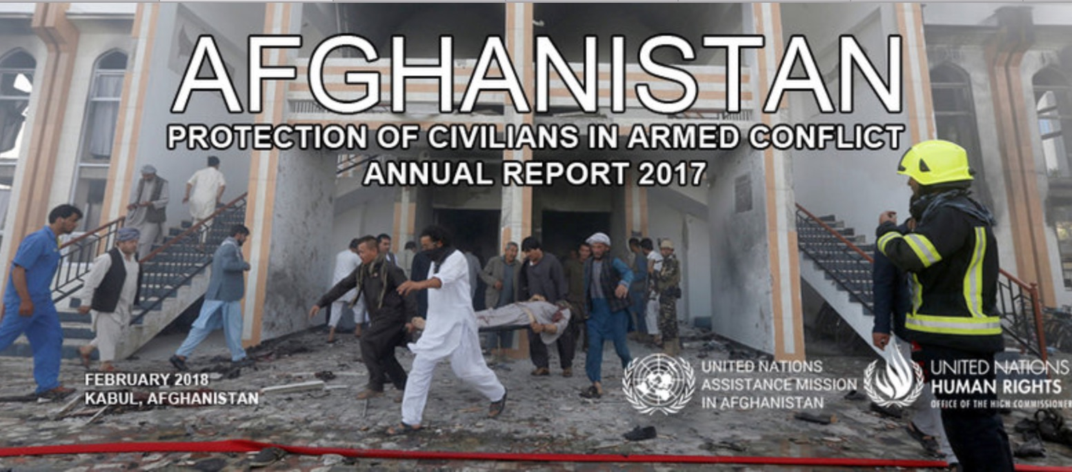 The cover of the 2017 UNAMA report showing a victim of the 25 August, ISKP-claimed attack on the Shia Imam Zaman Mosque in Kabul city. A suicide bomber and four gunmen killed 35 civilians and injured 65 others during Friday prayers. Photo: (C) Omar Sobhani, Reuters