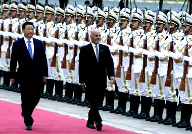 Presidents Ghani and Xi, during the former's second trip abroad, after umrah in Saudi Arabia. Photo c/o ToloNews.