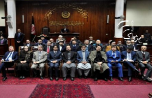 Picture show the full proposed cabinet seated in Afghanistan's Wolesi Jirga hall.