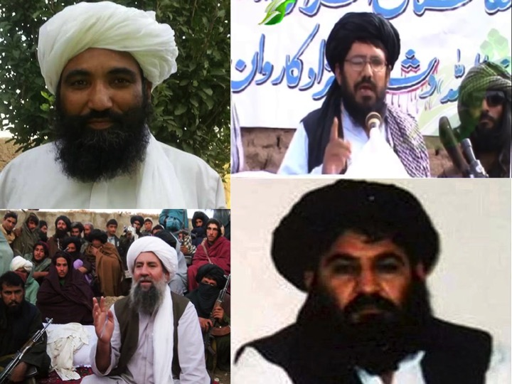Taliban Leaders: Starting Top Right - Clockwise: Mullah Rasul (Source: Zhwandoon TV screenshot), Mullah Akhtar Mansur (Source: Taleban Website), Mullah Manan Niazi (Source: Tolo TV), Mullah Mansur Dadullah (Source: Supporters on Social Media)