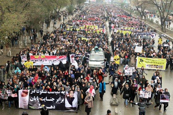 The large Zabul Seven protests in Kabul, 11 November 2015. Photo: Pajhwok.