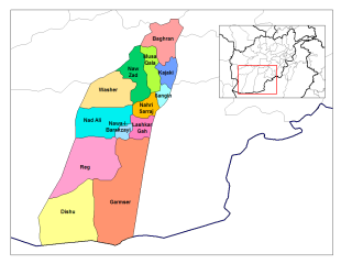 Schematic map of Helmand's districts (Marja is still part of Nadali) (Source: Wikipedia) - Click on the map to enlarge