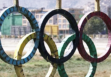 Sign of the Olympic rings at the sports ground near the Kabul National Stadium (Photo Source: Tolonews August 2016)