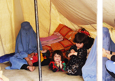 The family of Zahra, a 14-year old girl who was 4 months pregnant when she was burnt to death by in-laws in Ghor, sit in a protest tent in Allauddin Park, in Kart-e Seh area of Kabul, to seek justice for Zahra. Photo: Tolo News.
