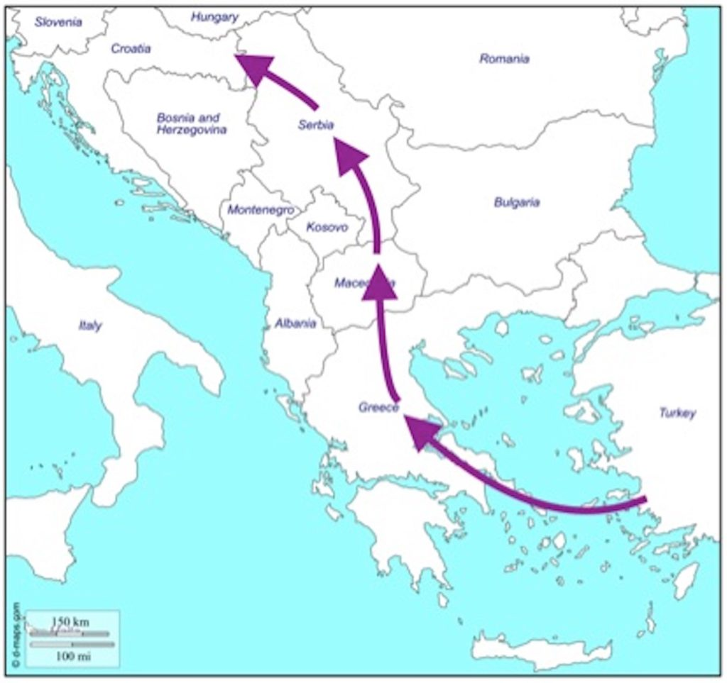 Map 1: The Balkan humanitarian corridor, November 2015 to February 2016 Credit: Free map downloaded from d-maps.com, arrows added by AAN.