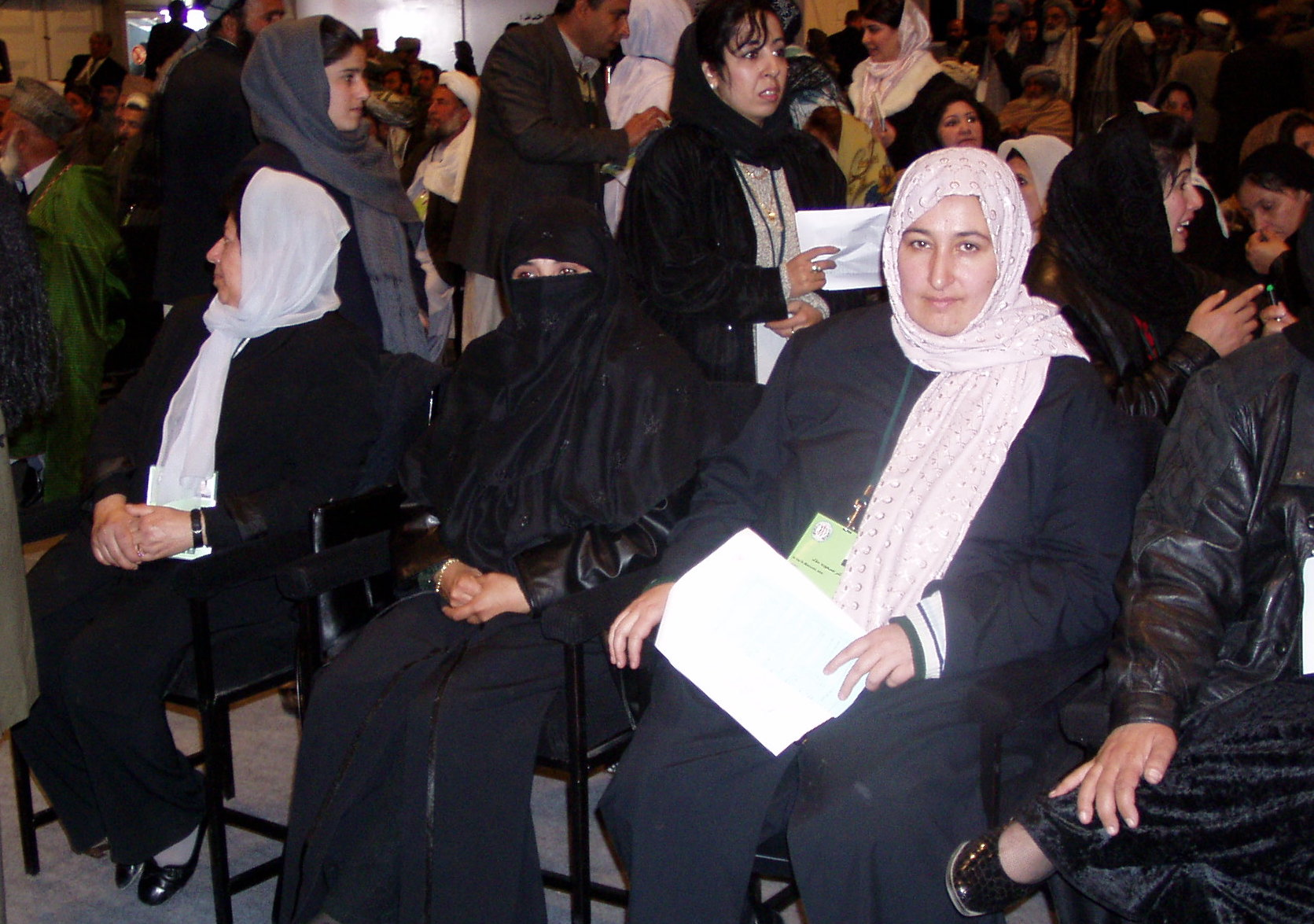 Women delegates sat separately during the the Constitutional Loya Jirga of 2003/04 (left to right: Suraya Parlika, unknown, Massuda Jalal). Photo: Thomas Ruttig