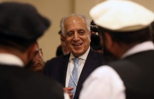 US Special Representative for Afghanistan Reconciliation Zalmay Khalilzad attends the Intra Afghan Dialogue talks in the Qatari capital Doha on July 8, 2019