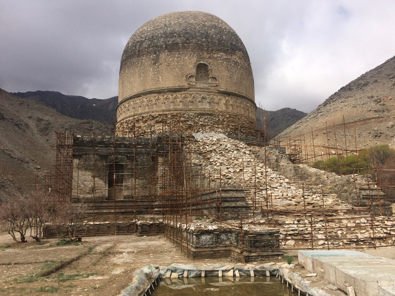 TThe front (east-facing) view of Topdara stupa from April 2019 after ACHCO excavated the base of the stupa. Photo: Jelena Bjelica, 2019.
